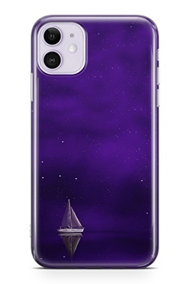 Lopard Apple İphone 11 Kılıf Mor Gemi Kapak Renkli